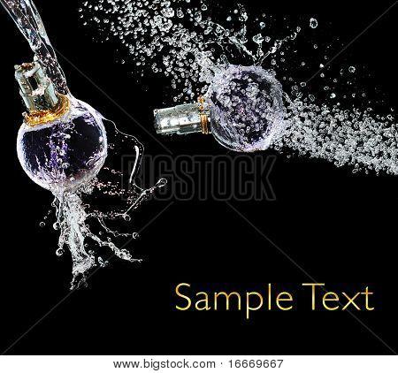 Set perfume bottle on water splash
