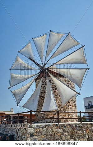 Wings of a traditional windmill on the island of Kos in Greece