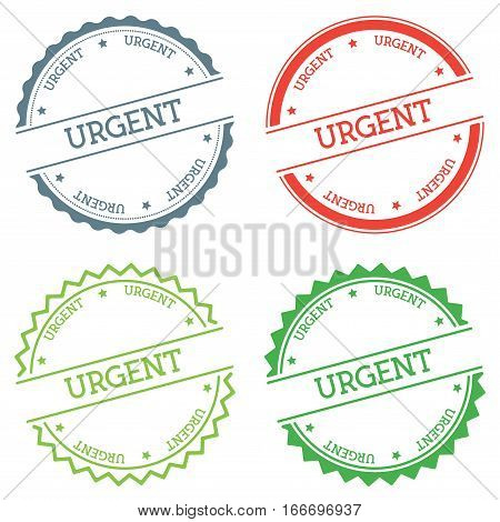 Urgent Badge Isolated On White Background. Flat Style Round Label With Text. Circular Emblem Vector