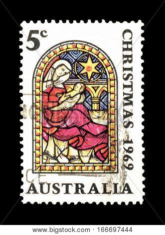 AUSTRALIA - CIRCA 1969 : Cancelled postage stamp printed by Australia, that shows Christmas.