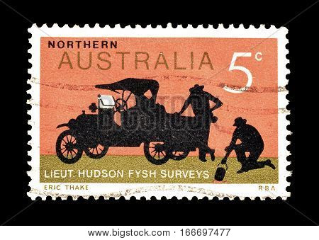AUSTRALIA - CIRCA 1969 : Cancelled postage stamp printed by Australia, that shows  truck.