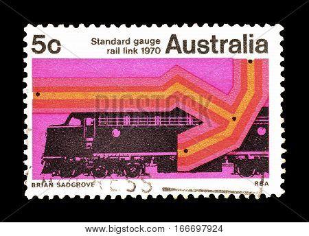 AUSTRALIA - CIRCA 1970 : Cancelled postage stamp printed by Australia, that shows Rail.