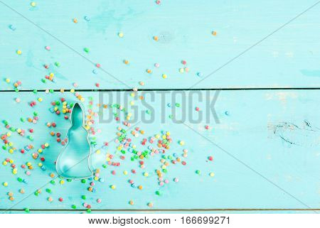 Easter Background With Sprinkles & Cookie Cutter