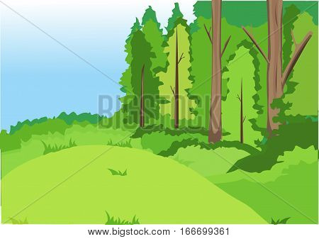Green forest, glade, hills, bushes. Blue sky.