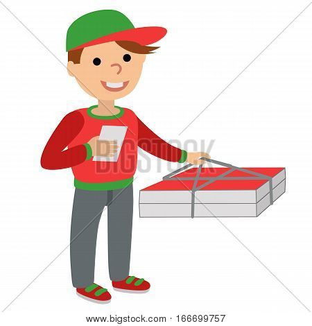 Pizza delivery man in uniform standing with box in his hands. Templates for printing with inscription on white background.