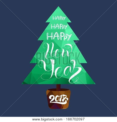 Happy New 2017 Year Lettering in Christmas tree. Winter holiday illustration. Xmas Design Label Elements for invitation greeting card and headline title sticker emblem print magnet. Vector