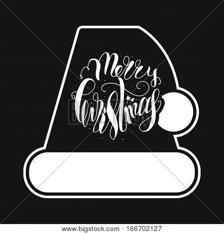 Merry Christmas Hand Drawn Lettering with Santa Claus Hat Illustration. Xmas Design Label Elements for holiday invitation greeting card and headline title sticker emblem print magnet. Vector