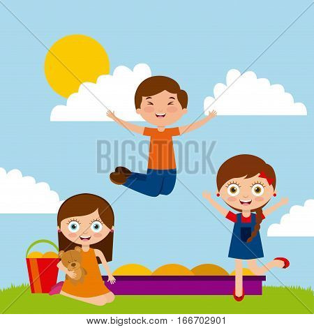 cute happy kids playing in the sandbox on sunny day. colorful design. vector illustration