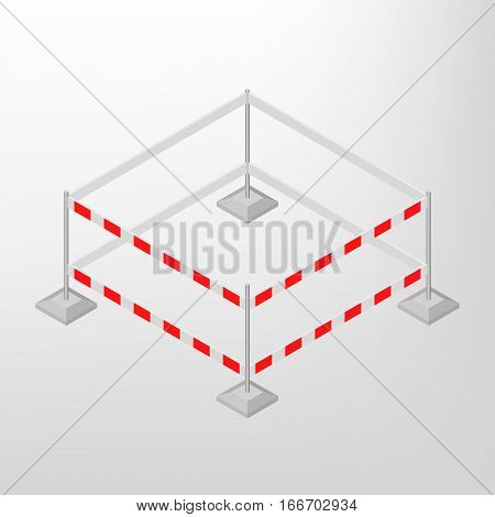 Road traffic barrier isolated on a white background. Design elements for reconstruction. Flat 3D isometric style vector illustration.