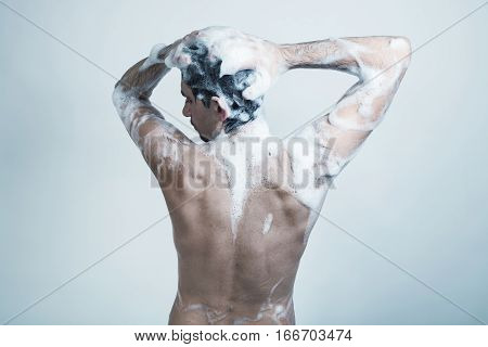 Naked Young Man Covered With Soap