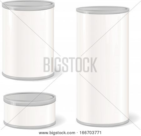 Metal Tin Can. Retro Canned Food. Product Package. Packaging meat container set
