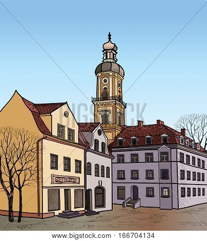 European cozy street. Downtown landscape illustration. Pedestrian street in the old European city with church on the background. Historic city street. Hand drawn sketch of cityscape.