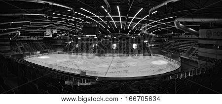PUBLIC ACCES EVENT!!! Chomutov Czech republic - January 20 2017: empty auditorium of new multifunctional arena
