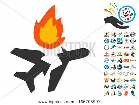 Airplane Crash pictograph with bonus 2017 new year clip art. Vector illustration style is flat iconic symbols, modern colors.