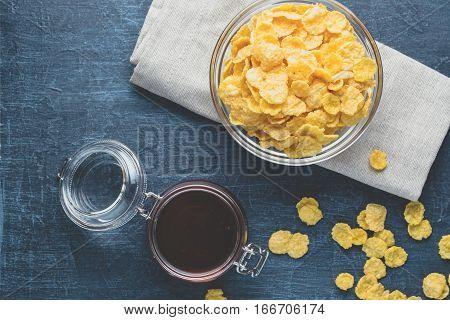 Corn Flakes On A Dark Blue Background