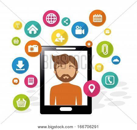 smartphone man social media application vector illustration eps 10