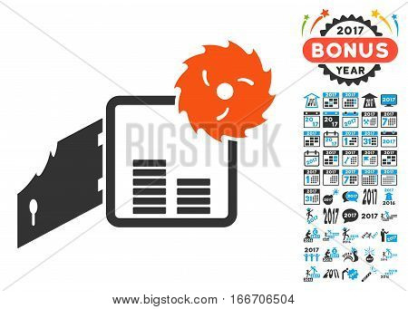 Broken Bank Safe pictograph with bonus 2017 new year icon set. Vector illustration style is flat iconic symbols, modern colors.