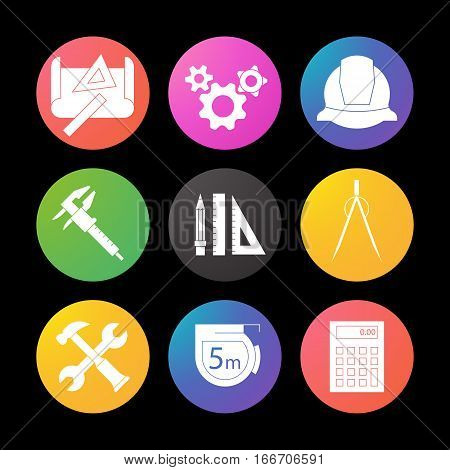 Engineering silhouette icons set. Drawing, gears, helmet, caliper, divider, hammer and wrench, measuring tape, calculator, pencil with rulers Smart watch UI style
