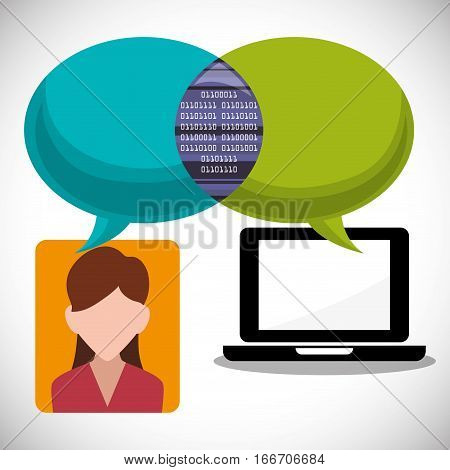 laptop girl message email inter technology vector illustration eps 10