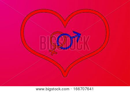 Valentine's Day card background , heart , man and woman symbols , Sex symbol
