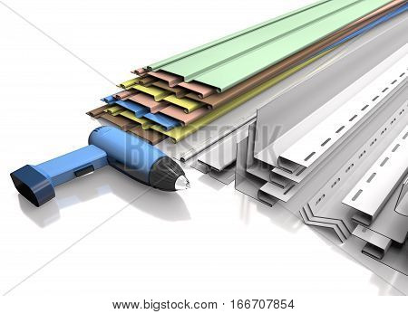 Panel siding plastic profiles and electric screwdriver on a white background (3d illustration).