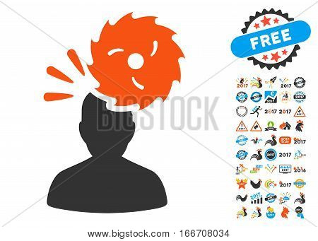 Destroy Person pictograph with bonus 2017 new year clip art. Vector illustration style is flat iconic symbols, modern colors.