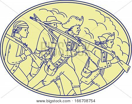 Mono line style illustration of a american revolutionary soldiers servicemen holding rifle on their shoulders marching viewed from the side set inside oval shape.