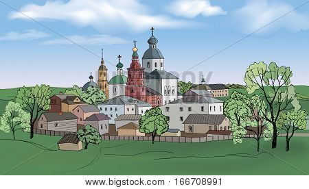 Old russian town landscape with church hand drawn sketch illustration. Suzdal city. View of Suzdal cityscape. The Golden Ring of Russia.