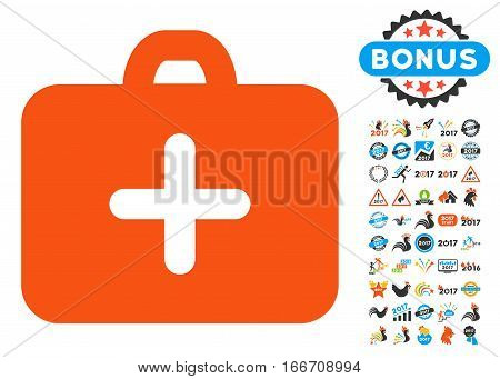 First Aid Case icon with bonus 2017 new year images. Vector illustration style is flat iconic symbols, modern colors.