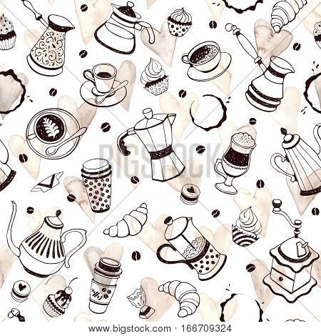 Coffee time seamless pattern with watercolor hearts on white background. Hand drawn illustration with coffee pots cups and sweets.