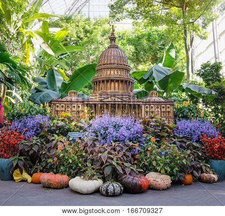 WASHINGTON DC USA - OCTOBER 22 2016: capitol hill miniature model shot at the botanical garden