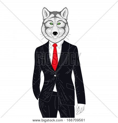 Vector brutal wolf in elegant classic suit. Hand drawn anthropomorphic grizzly. Illustration for t-shirt print, kids greeting card, invitation for pets, gentleman party.