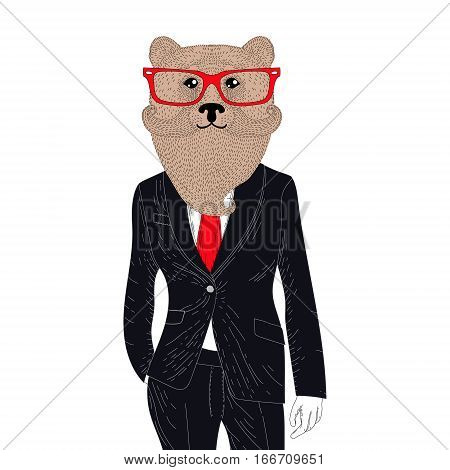 Vector brutal brown bear in elegant classic suit. Hand drawn anthropomorphic grizzly with mustache, beard, glasses. Illustration for t-shirt print, kids greeting card, invitation for pets, gentleman party.
