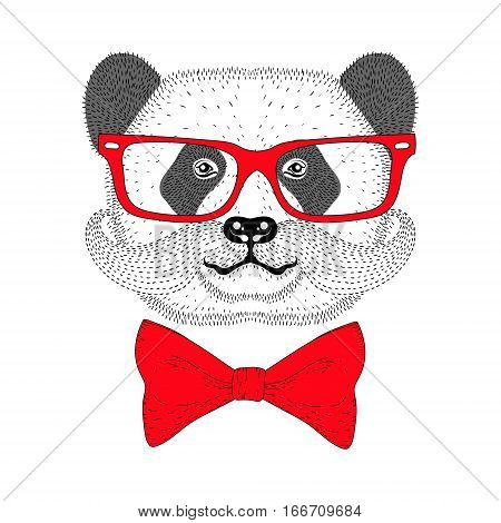 Cute panda portrait with french mustache, bow tie, glasses. Hand drawn bear face, anthropomorphic fashion animal  illustration for t-shirt print, kids greeting card, invitation for gentleman party.