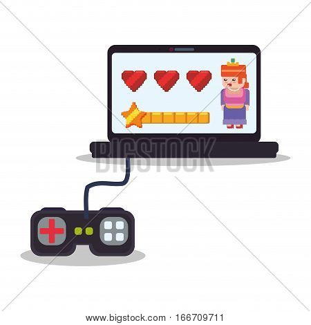 laptop control console princess play hearts vector illustration eps 10