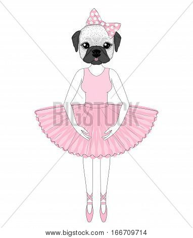 Vector cute french bulldog in dress like ballerina. Hand drawn anthropomorphic dog, illustration for t-shirt print, kids greeting card, invitation for pet party.
