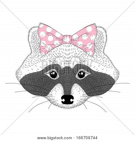 Vector cute raccoon girl portrait. Hand drawn pretty anthropomorphic animal cartoon illustration for t-shirt print, kids greeting card, invitation for pet party.