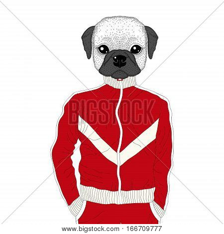 Vector brutal french bulldog in sport suit. Hand drawn anthropomorphic dog, illustration for t-shirt print, kids greeting card, invitation for 90s party.