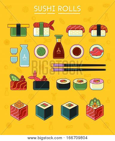 Sushi and rolls set icons flat style. Japanese sushi and rolls wasabi soy sauce ginger sake and chopsticks. Vector illustration clip art