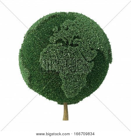 Topiary bush shaped as the Earth facing Europe