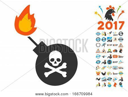 Mortal Bomb pictograph with bonus 2017 new year graphic icons. Vector illustration style is flat iconic symbols, modern colors.