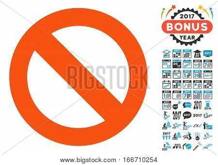 Not Available icon with bonus 2017 new year pictures. Vector illustration style is flat iconic symbols, modern colors.