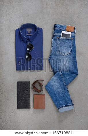 Men's casual outfits with accessories , flat lay,,on gray
