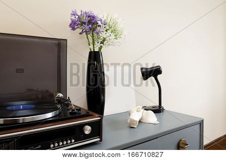 Dresser with Record Player and Vintage Decor