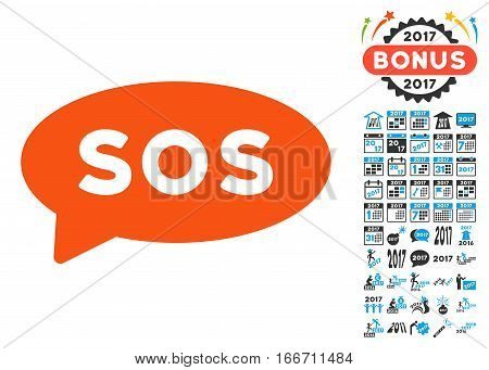 Sos Message Balloon icon with bonus 2017 new year clip art. Vector illustration style is flat iconic symbols, modern colors.