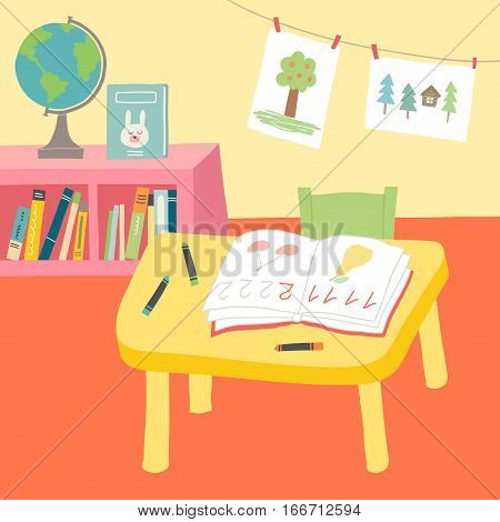 Kindergarten Preschool Classroom Interior. Cartoon vector hand drawn eps 10 illustration in flat style.