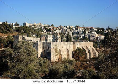 Christian monastery in the park in Jerusalem Israel