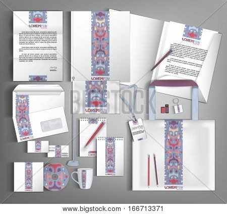 White corporate identity template design with ethno pattern. Business set stationery.