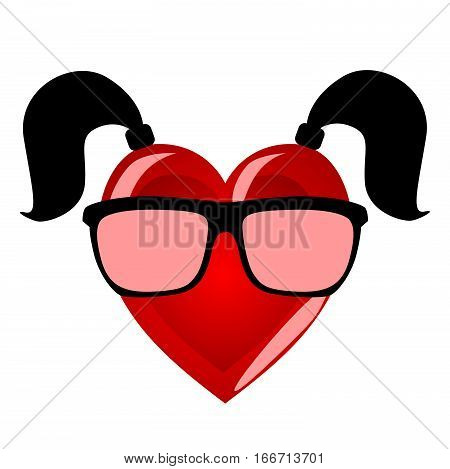 Miss heart. Colorful character personifying a woman in hipster glasses and two tails on a white background.