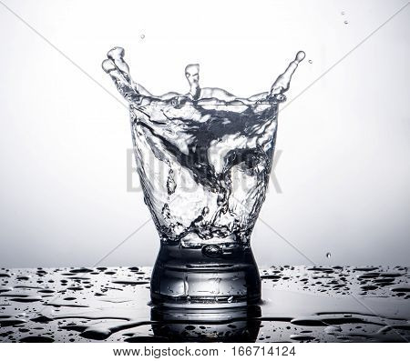 splash in a glass on a gradient background